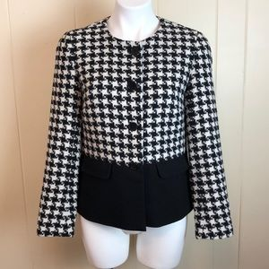 Talbots Black & White Woven Houndstooth Jacket